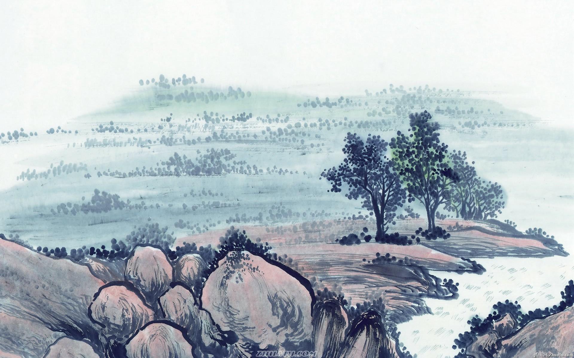 中国水墨画电脑壁纸图片大全 高清山水画桌面壁纸 高清山水图片